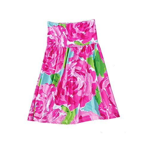 MONOBLANKS Lilly Inspired Print Beach Cover up Summer Strapless Beach Dress (L/XL, Rose)