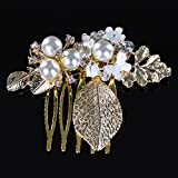 Remedios Rose Gold Pearl & Leaves Mini Bridal Wedding Hair Comb Accessory