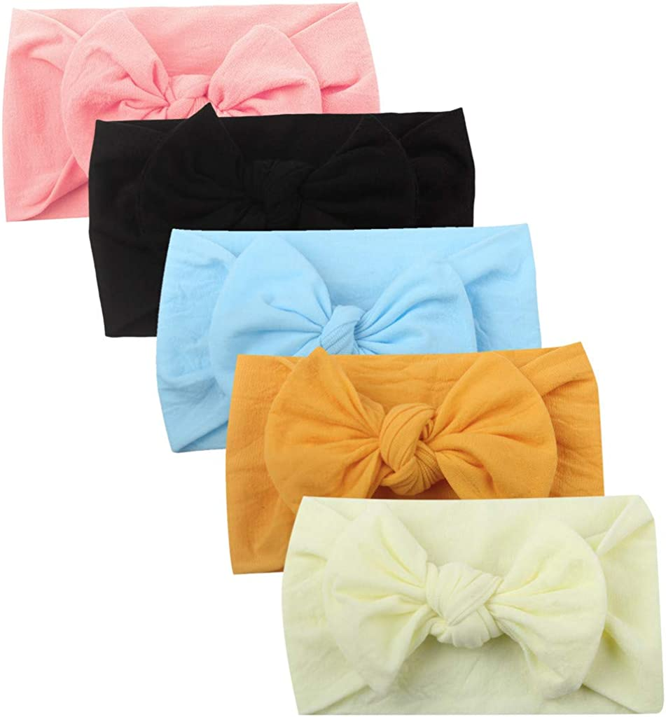 ALOVEMO 5 Pack Baby Girl Headbands and Bows Classic Headwrap Stretchy Hair Bands