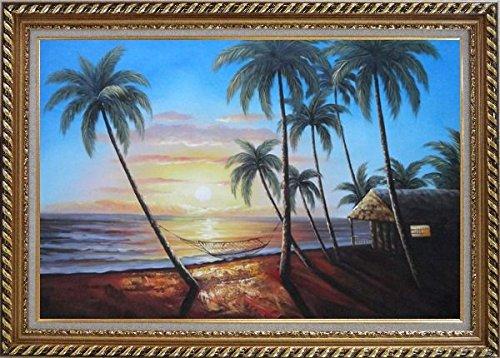 Framed Oil Painting 24''x36'' Hawaii Beach Sunset Sea Palm Trees Hammock Seascape America Naturalism Stylish Frame by BeyondDream