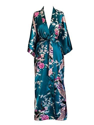Old Shanghai Women's Kimono Long Robe - Peacock & Blossoms - Peacock (on-seam pocket)