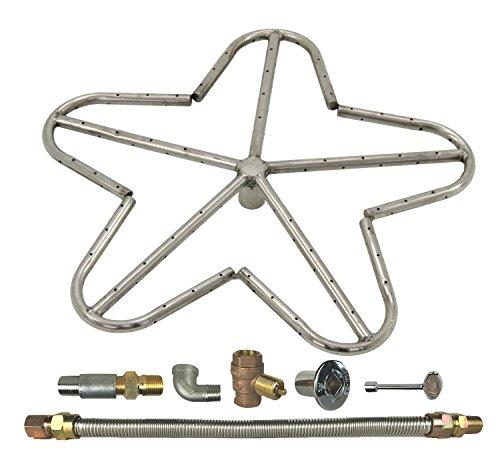 Spotix HPC Penta Fire Pit Burner Kit (FPS-PENTA18KIT-LP-MSCB), 18-Inch Burner, Match Light, Propane