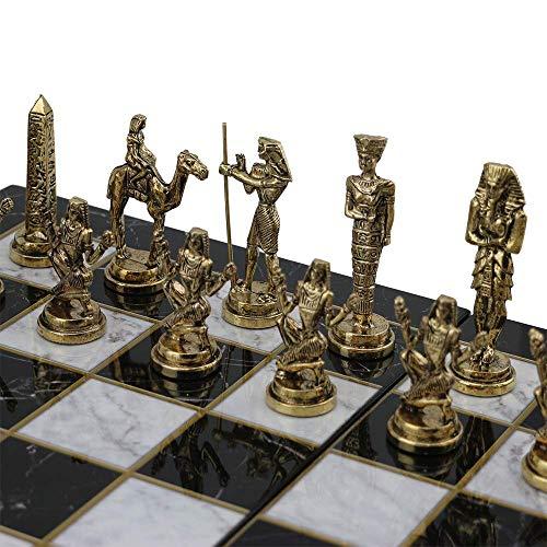 GiftHome (sólo piezas de ajedrez) Históricas hechas a mano egipcio faraón figuras de ajedrez de metal tamaño mediano…