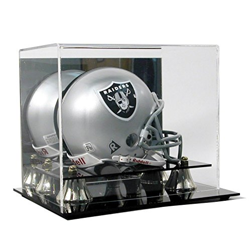 SAFTGARD SUPPLIES Deluxe Acrylic Mini Helmet Display Case w/Mirror Back & Gold Risers -