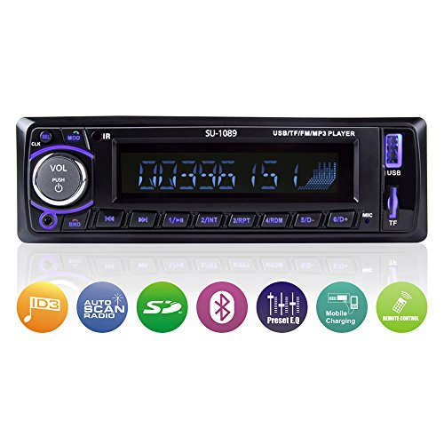 Car Stereo Receiver (with Bluetooth/USB/SD/AUX/FM), Single Din Version, Car Radio, MP3 Player, Wireless Remote Control Included by Scharkspark