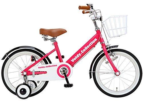 100%完成車 voldy(ボルディ) チビボルディー 子供用自転車 16インチ 三輪車 【泥除け付き カゴ付き こま付き】 男の子 女の子 VO-16KB B01MXSI71K ピンク ピンク