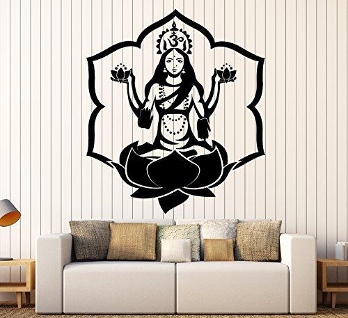wall-sticker-buddha-goddess-lakshmi-lotus-om-meditation-vinyl-decal-z2914