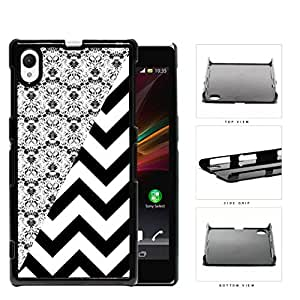 Black & White Floral Damask Pattern with Black/White Chevron Pattern Sony Xperia Z1 Hard Snap on Plastic Cell Phone Case Cover