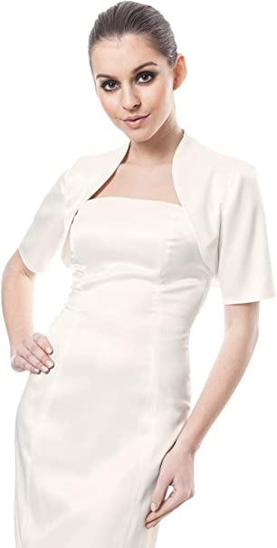Womens Top Satin Bolero Wedding Evening Party Cocktai Jacket Three Quarter Length Sleeve