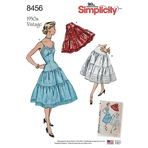 Simplicity 8456 R5 Misses' 1950s Vintage Petticoat and Slip SEWING PATTERN, Size 14-22