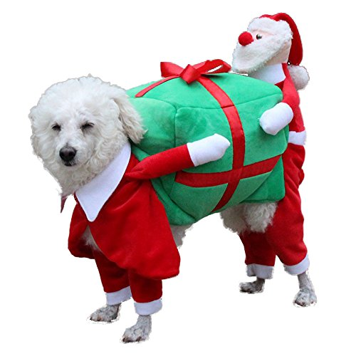 NACOCO Dog Costume Carrying Gift Box with Santa Claus Pet Cat Costumes Funny Christmas Party Festival Holiday Outfit (M)