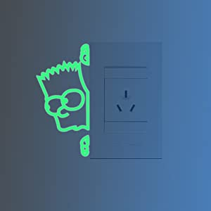 ufengke The Simpsons Light Switch Wall Stickers Fluorescent Glowing Wall Decal Removable DIY Vinyl Cartoon Stickers Glow in The Dark, Find Your Way in Living Room, Bathroom, Bedroom, Toilet