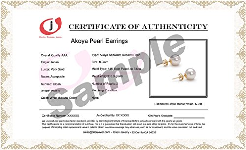 Akoya Cultured Pearl Earrings Stud AAA 10mm White Cultured Pearls Earring Set Gold Plated Setting by Orien Jewelry (Image #2)