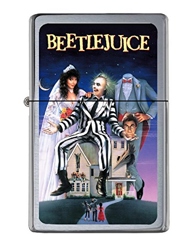 Beetlejuice Flip Top Lighter Brushed Chrome with Vinyl Image