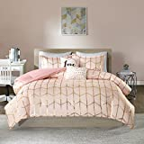 Intelligent Design Raina Comforter Set Full/Queen Size - Blush Gold, Geometric – 5 Piece Bed Sets – Ultra Soft Microfiber Teen Bedding for Girls Bedroom
