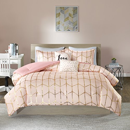Bed Ensemble Full (Intelligent Design Raina Comforter Set Full/Queen Size - Blush Gold, Geometric – 5 Piece Bed Sets – Ultra Soft Microfiber Teen Bedding for Girls Bedroom)