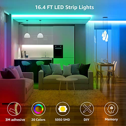 LE LED Strip Lights, 16.4ft RGB LED Light Strip, 5050 SMD LED Color Changing Tape Light with 44 Keys Remote and 12V Power Supply, LED Lights for Bedroom, Home Decoration, TV Backlight, Kitchen, Bar
