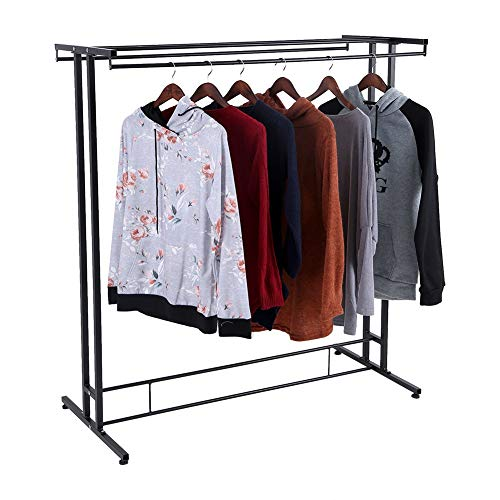 (GOTOTOP Double Clothes Rack, Heavy Duty Rolling Commercial Rail Clothing Garment Rack with Top Rod and Lower Storage Shelf Max Load Capacity 300 lbs. for Bedroom Dressing Room Balcony Store)