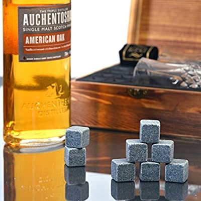 Whiskey Stones Gift Set - 8 Unique Granite Ice Stones & 2 Whiskey large Glasses By Lord's Rocks