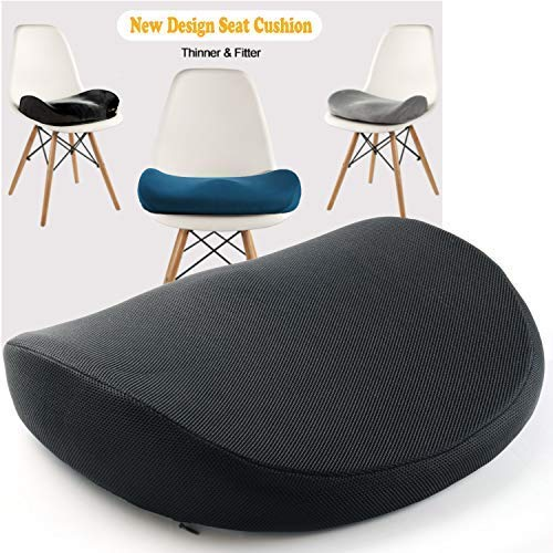 (Japanese Seat Cushion – Advanced Comfort Memory Foam, Washable, Non Slip Cushion Orthopedic Design to Relieve Back Sciatica Coccyx, and Tailbone Pain (Black))