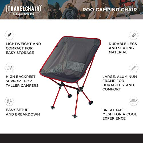 TravelChair Roo Camping Chair, Wider and Higher Than Other Folding Chairs, Black