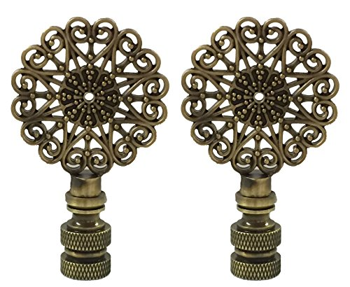 Royal Designs Scalloped Filigree Lamp Finial for Lamp Shade- Antique Brass Set of 2