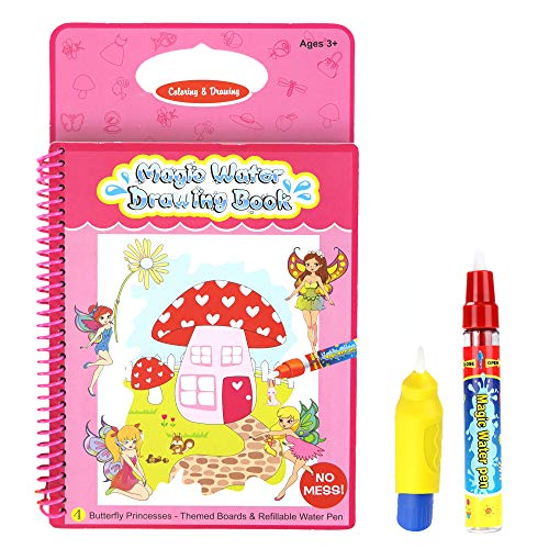 Rangebow Butterfly Princess Aqua Magic Travel Doodle Water Drawing Painting Activity Multi-Colored Reusable Book with…