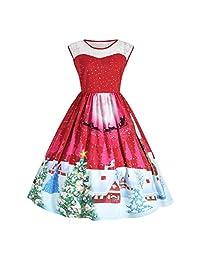 changeshopping Young Girls Women Christmas 3D Print Swing Party Panel Dress