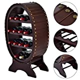 Globe House Products GHP 18.1''x11.4''x33.9'' 13-Bottle Capacity 4-Tier MDF Wine Liquor Rack Storage Shelf