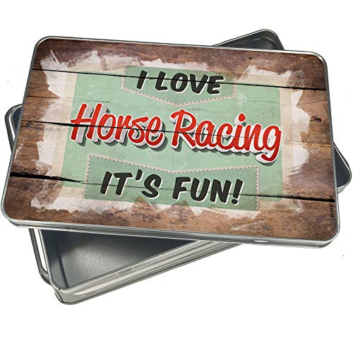 NEONBLOND Cookie Box I Love Horse Racing, Vintage design Christmas Metal Container -