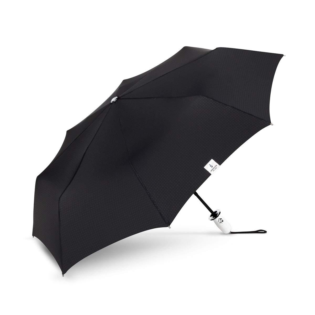 壊れにくい傘 ブラック デュアルマティック ホワイト ハンドル/グリップ コンパクト 傘   B07KCBG6PD