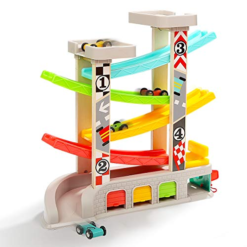TOP BRIGHT Race Track Car Ramp Toy for Toddler Boys 2 3 Year Old Gifts - with 4 Wooden Cars, Parking Lot  Gas Station in USA