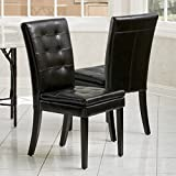 Barrington Black Leather Dining Chairs (Set of 2)