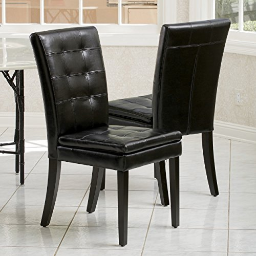 Christopher Knight Home 217454 Amalee Faux Leather Dining Chairs, Set of 2, Black