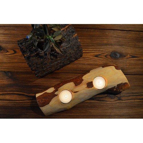 (OKSLO Pomegranate Solutions, LLC Madison Olive Wood Tealight Candle Holder)