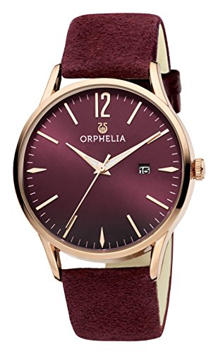 ORPHELIA Suede Burgundy Leather Strap-OR51707-6