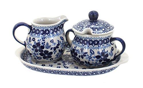 Polish Pottery Vintage Blue Daisy Sugar & Creamer with Tray (Daisy Creamer)