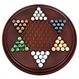 Handmade Wooden Chinese Checkers Game Set with Glass Marbles by ShalinIndia