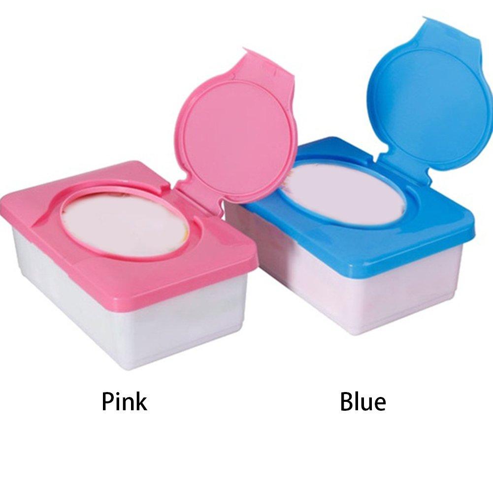 Baby Wipes Box, Travel Portable wet tissue box,Plastic Wipes Dispenser Tub Plastic Tissue Case Diaper Duty Organizer(Blue) (Pink) Hinmay