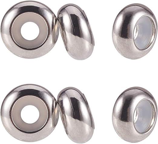 Pandahall Abalorios de acero inoxidable con dise/ño de disco de estanque en blanco Acero Inoxidable-Coraz/ón-33x34,5 mm-10pcs