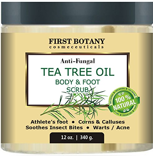 100% Natural Anti Fungal Tea Tree Oil Body & Foot Scrub 12 oz. with Dead Sea Salt - Best for Acne, Dandruff and Warts, Helps with Corns, Calluses, Athlete foot, Jock Itch & Body Odor Dandruff Remover