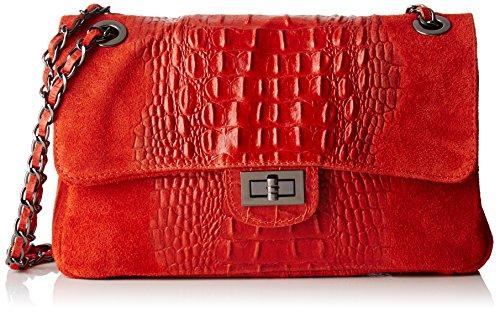 Chicca Borse 80045, Borsa Bowling Donna, 28x16x8 cm (W x H x L) Rosso