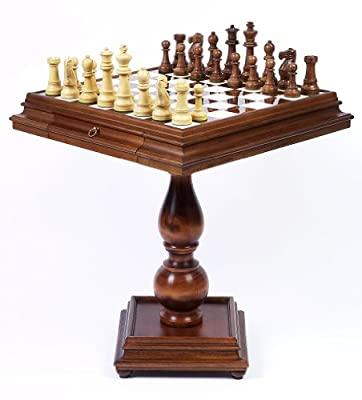 Ambassador Chessmen & Monticello Chess Table From Italy