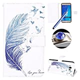 Galaxy J7 2016 Leather Case,Samsung Galaxy J7 2016 Wallet Case,Etsue Cute[Embossed Blue Feather Bird]Pu Magnetic Closure Wallet Flip Book Type Leather Protective Case Cover with Stand and 9 Card Slots+[1XBlue Stylus Pen]+[1XBling Glitter Diamond Dust Plug] for Samsung Galaxy J7 2016-Blue Feather Bird