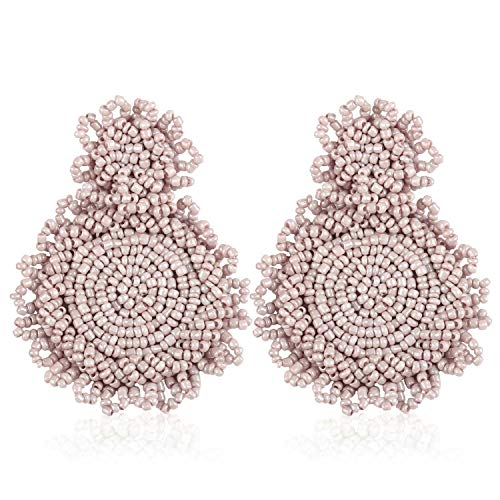 Statement Drop Earrings for Women Girls Handmade Bohemian Beaded Hoop Round Circle Dangle Dangly Fashion Daily Studs Ear Jewelry Accessories Gift for Girlfriend with Gushion Present Box GUE128 Beige