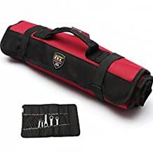 Acentix® F – Series Canvas Tools Organizer Tool Roll Up Bag 27 – Pockets slots & 15 - Socket Slots Tool Roll Pouch suitable for Wrenches Pliers Screwdrivers Spanners Hammers size 58.5cm X 34.5cm Electrician Roll Up Tool bag (RED Color)
