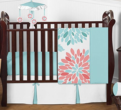 Turquoise Coral Flower (Unique Turquoise Blue and Coral Emma Baby Girls 4 Piece Floral Modern Crib Bedding Set Without Bumper)