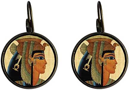 GiftJewelryShop Bronze Retro Style Egyptian Queen Cleopatra Photo Dangle Leverback Earrings 16mm diameter