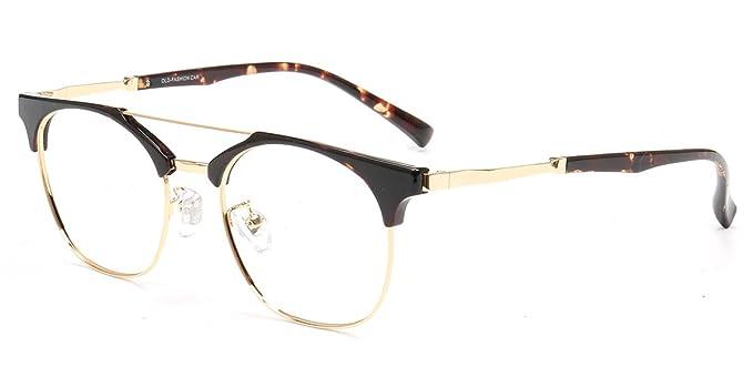 0dde907df6 Firmoo Classic Mental Round Non-prescription Blue Light Blocking Glasses  Tortoise