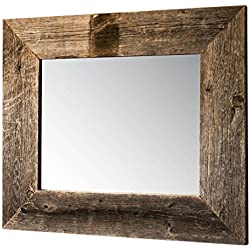 Drakestone Designs Mirror with Barnwood Frame | Wall Mount | Handmade Rustic Reclaimed Wood | 22 x 26 Inches (Natural)